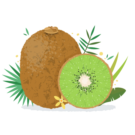 Kiwi with plants and flowers.