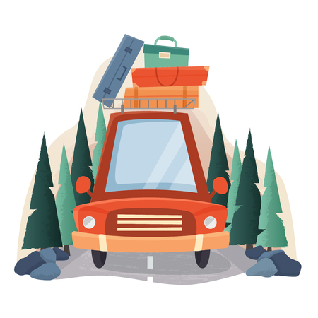 Summer travel car with suitcases, road and forest trees. Stock Illustratie