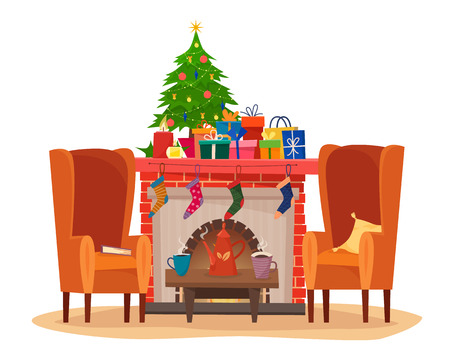 Chairs and table with cups of tea or coffee, teapot, pillow and book. Christmas fireplace with gifts, socks and candles.