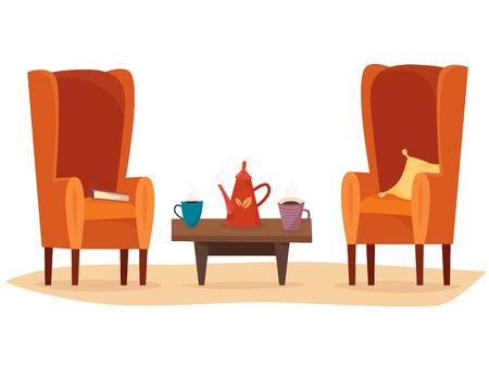Cadeiras e mesa com xícaras de chá ou café, bule, travesseiro e livro. Foto de archivo - 89834637