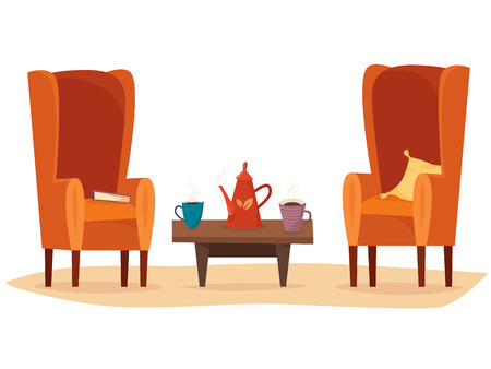 Chairs and table with cups of tea or coffee, teapot, pillow and book. Ilustração