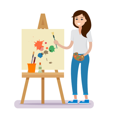 Art studio interior. Woman artist drawing. 向量圖像