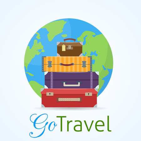 Baggage, luggage, suitcases on trolley with earth planet on background.