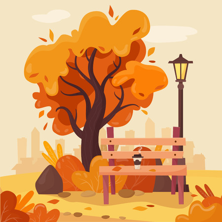 Autumn park with bench, coffee, falling leaves, tree and lantern. Illustration