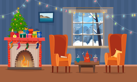 Chairs and table with cus of tea or coffee, cookies and pillow. Christmas fireplace with gifts, socks and candles.