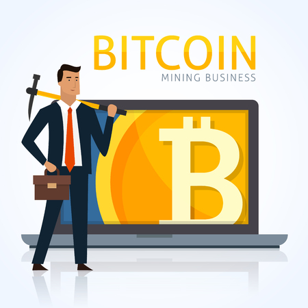 Bedrijfs concept illustratie. Zakenman die bitcoins mijnbouwt en cryptocurrency verdient. Stockfoto - 89975507
