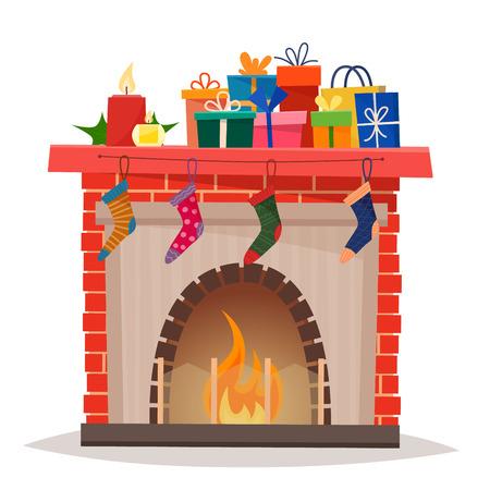 Lareira de Natal com presentes, meias e velas. Foto de archivo - 89882959
