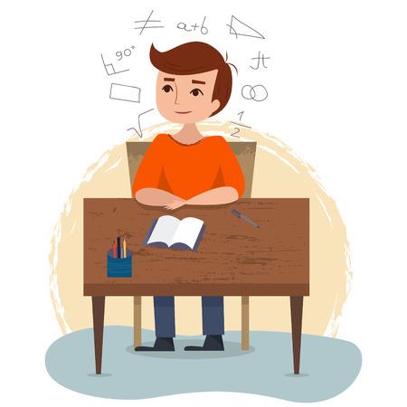 座っていると学校のテーブルで勉強の少年。