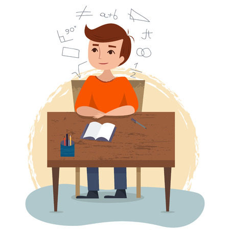 Boy sitting and studying on the table in school. Vectores
