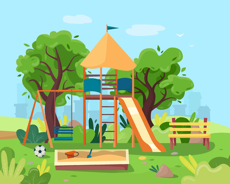 Kids playground in city park. Swings, sandbox, slide, tree and bench. Stock Illustratie