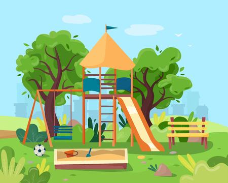 Kids playground in city park. Swings, sandbox, slide, tree and bench. Illustration