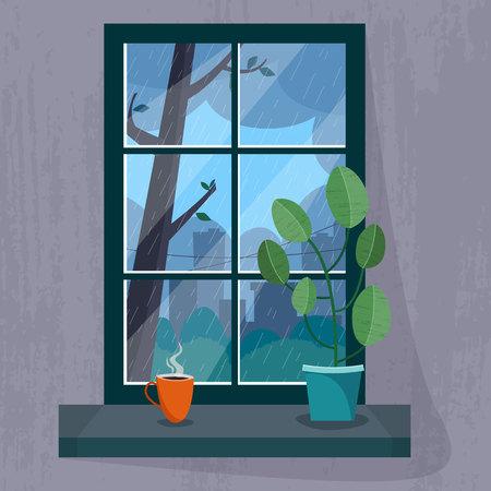 Venster met een regenachtig uitzicht op de stad. Kamerplant en kopje thee of koffie op de vensterbank. Stock Illustratie