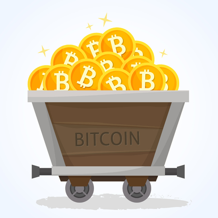 Business concept illustration. Trolley with bitcoins money.