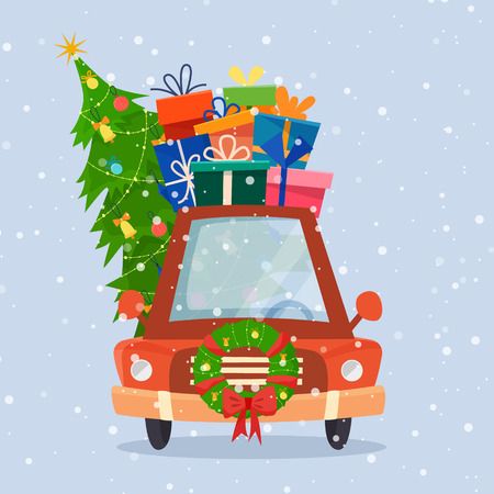 Chrismas car with gifts, tree and decorations.