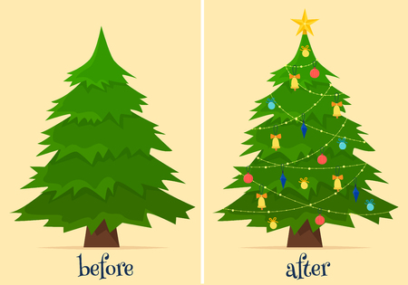Christmas tree before and after decoration. Fir in forest and in room with gifts and lights.