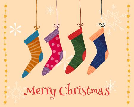 Weihnachtsbunte Socken. Standard-Bild - 90223458