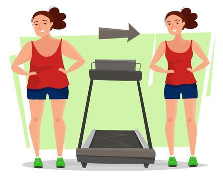 Dikke vrouw wordt dun met behulp van loopband in sportschool concept vectorillustratie