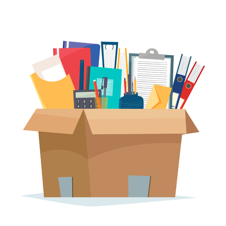 Box with office objects.