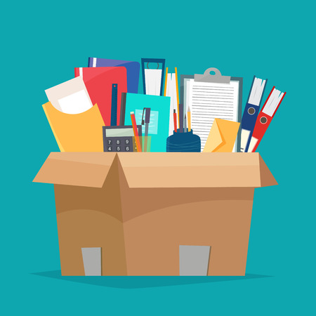 Box with office objects illustration on green background.