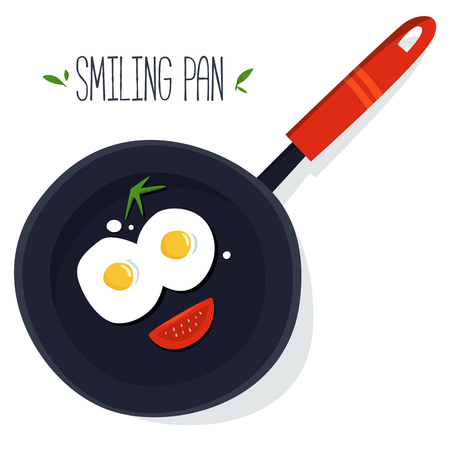 Smiling pan with eggs and sausage vector illustration