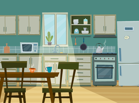 Cozy kitchen interior with furniture and stove illustration.