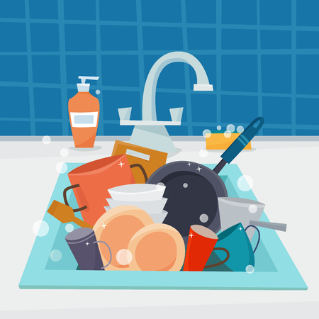 Sink with kitchenware and dishes vector illustration