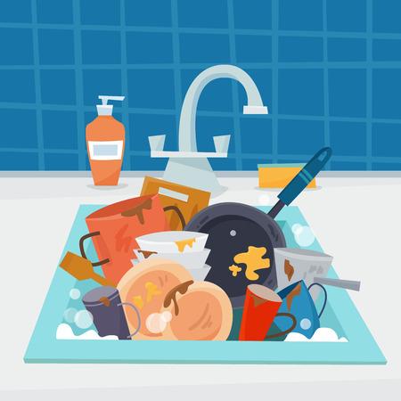 Zlew z brudnymi naczyniami i naczyniami, ołówkiem i gąbką.
