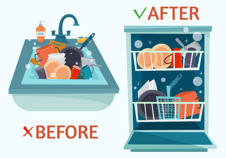 Sink dirty dishes and open dishwasher with clean dishes. Ilustração