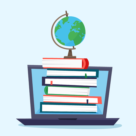 Online education and electronic library. Ilustrace