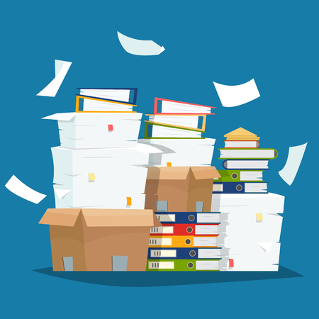Pile of paper documents and file folders in carton boxes vector illustration
