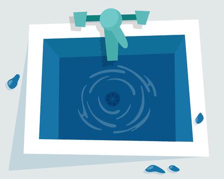 Lavandino di cucina con l'illustrazione dell'acqua su fondo leggero.