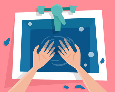 Kitchen sink with water and wet hands. Illustration