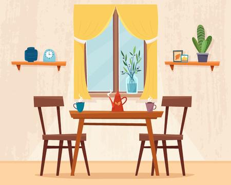 Table à manger dans la cuisine avec chaises.