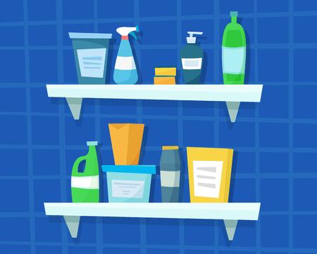 Washing detergents and bottles illustration on blue background.