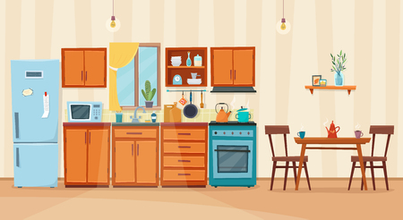 Cozy kitchen interior with furniture and stove Stockfoto