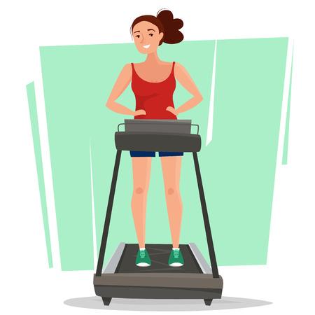 Vrouw bij het runnen van tredmolen in gymnastiek.