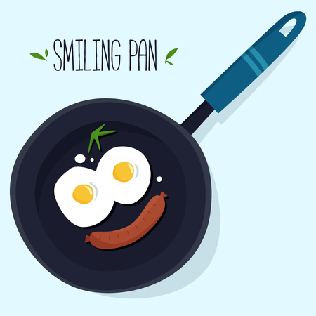 Smiling pan with eggs and sausage. Stockfoto - 98469721