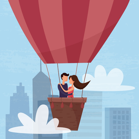 Love couple flying on air balloon in the sky above the city. Vectores