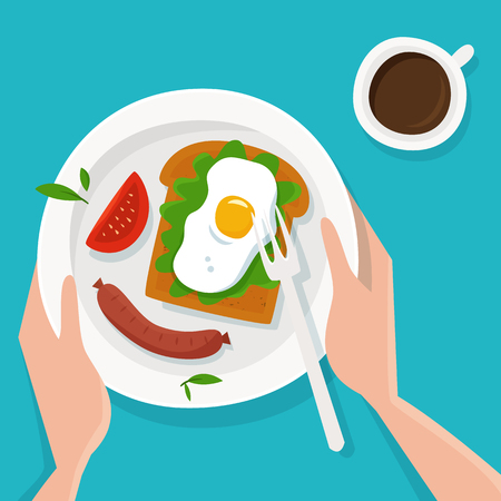 Hands with breakfast and coffee. Illustration
