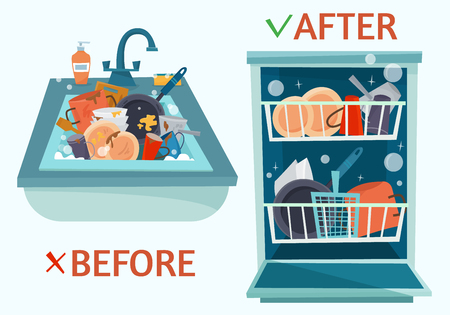 Sink dirty dishes and open dishwasher with clean dishes. Vectores
