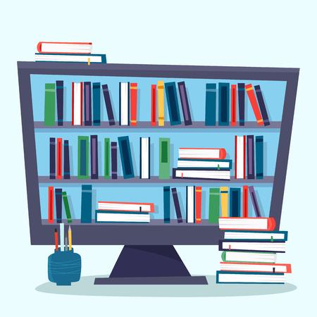 Biblioteka internetowa. Komputer z elektroniczną książką. Ilustracje wektorowe