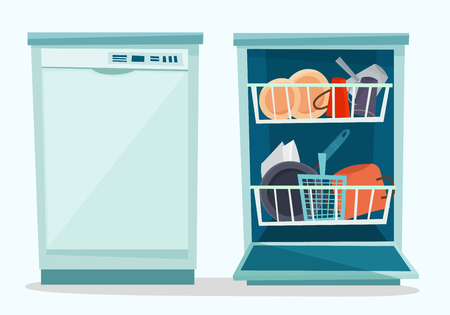 Close and open dishwasher with dishes. Ilustracja
