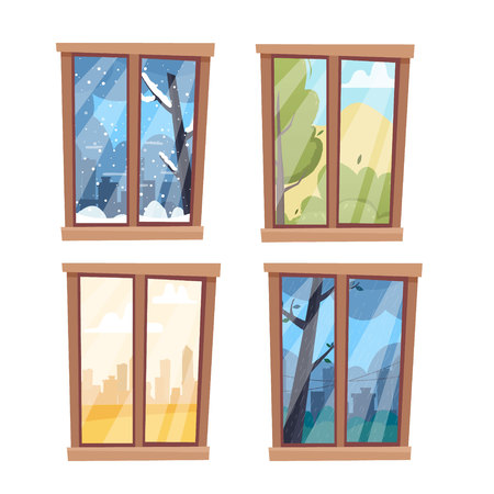 Windows with seasons and weather landscapes. Flat cartoon style