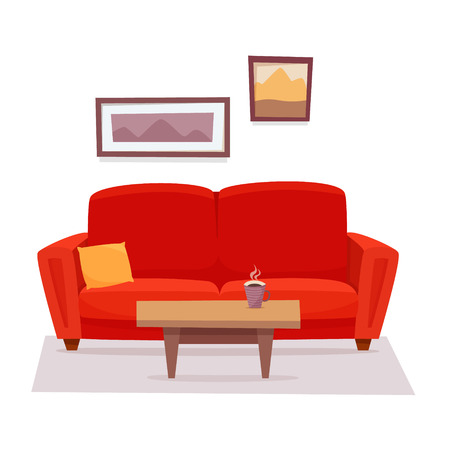Red sofa with table and pictures in living room. Stok Fotoğraf - 123899490