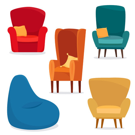 Different chairs set with pillow anf bag chair. Flat cartoon style vector illustration. Vettoriali
