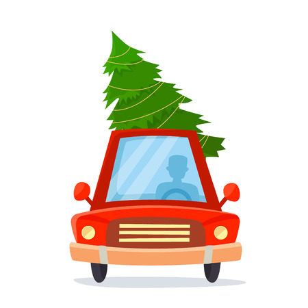 Chrismas car with gifts, tree and decorations. Cartoon style