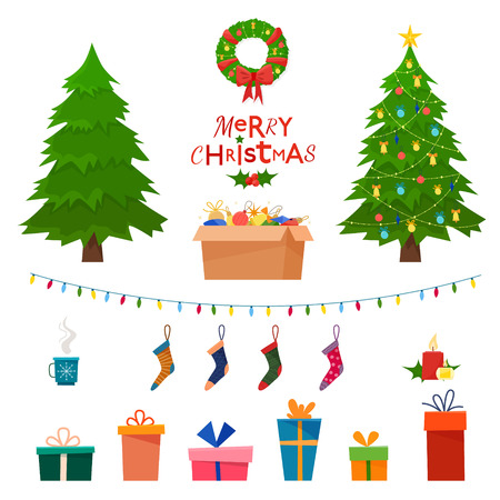Christmas set wit decorative winter objects - toys, gift boxes, balls, garlands, socks, wreath, xmas trees isolated on white background. Flat cartoon style vector illustration. Illustration