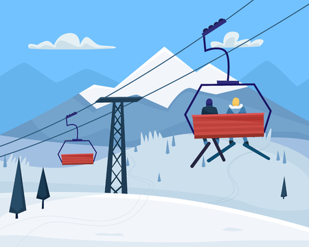 Ski resort with people, lift and winter mountains landscape. Flat cartoon style vector illustration. Archivio Fotografico - 127169241