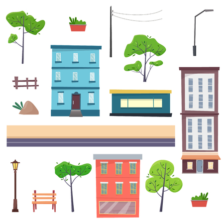 City constructor with elements. Houses on street with road, trees, bench and lantern.