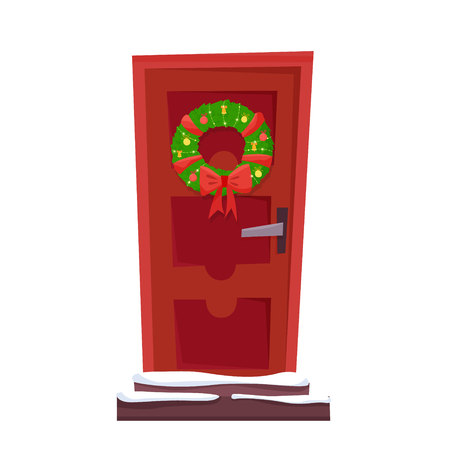 Christmas red door with wreath, snow and fir. Flat cartoon style vector illustration.